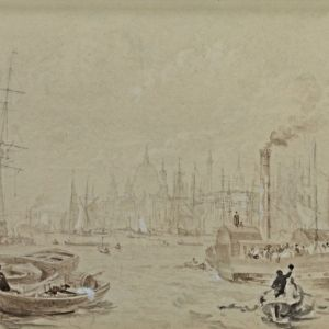 ATTRIBUTED TO THOMAS ALLOM-PENCIL WATERCOLOUR-RIVER THAMES