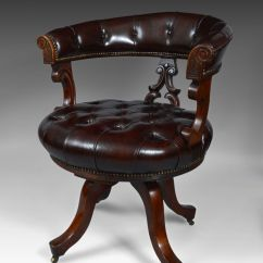 Revolving Desk Chair Wicker Basket Antique 19th Century Leather