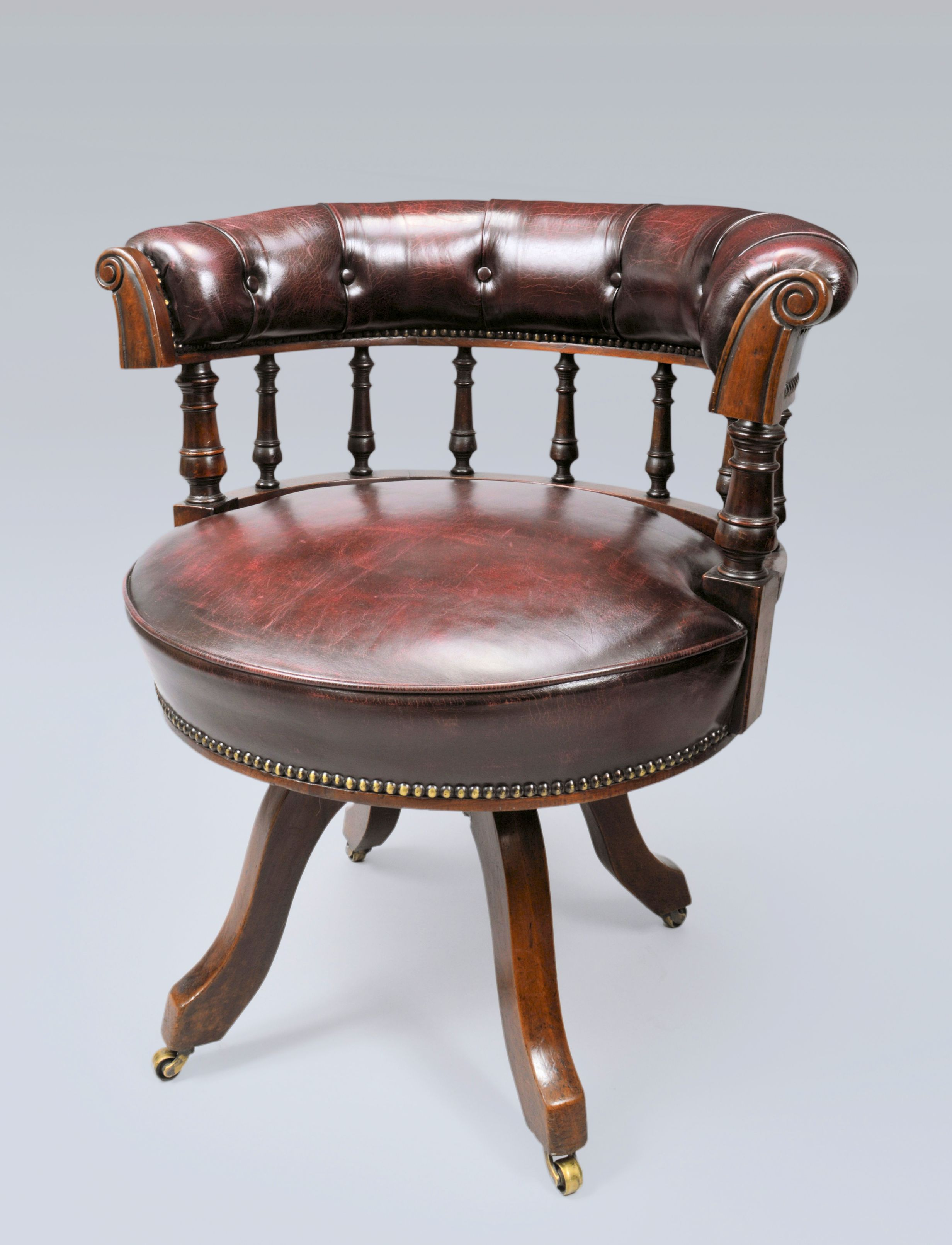 revolving chair features cross back dining chairs mahogany desk richard gardner antiques