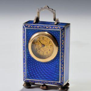 SILVER AND BLUE GUILLOCHE ENAMEL BOUDOIR CLOCK
