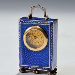 SILVER AND BLUE GUILLOCHE ENAMEL BOUDOIR CLOCK