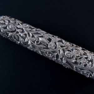 ANTIQUE 19TH CENTURY SILVER DOUBLE ENDED SCENT BOTTLE