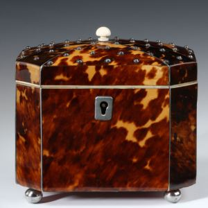 ANTIQUE OCTAGONAL TORTOISESHELL TEA CADDY