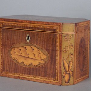 ANTIQUE HAREWOOD DOUBLE TEA CADDY WITH INLAY
