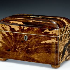 ANTIQUE DOME TOPPED TORTOISESHELL TEA CADDY