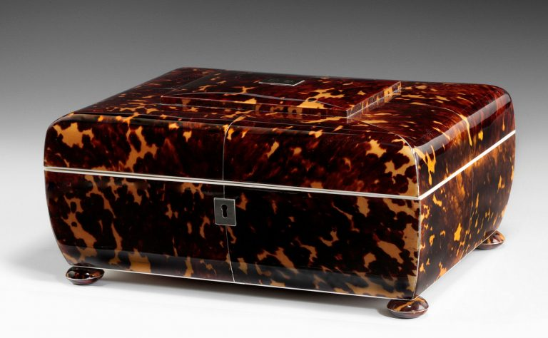 Antique Regency Tortoiseshell Sewing Box By Lund