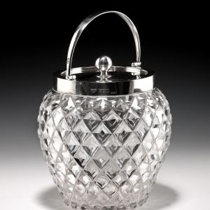 ANTIQUE GLASS AND SILVER BISCUIT BARREL