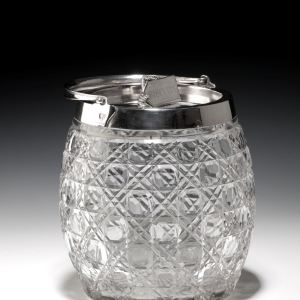 ANTIQUE GLASS AND SILVER PLATED BISCUIT BARREL