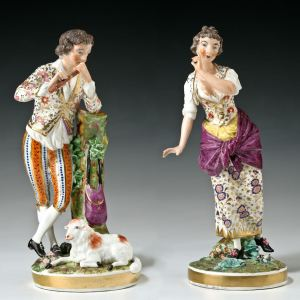 ANTIQUE PAIR BLOOR DERBY PORCELAIN SHEPHERD & SHEPERDESS