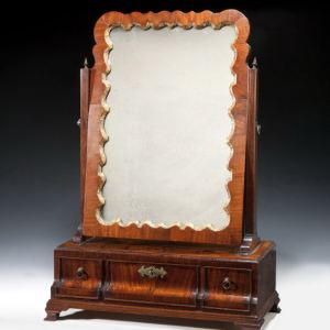 ANTIQUE GEORGE III MAHOGANY BOX BASE DRESSING MIRROR