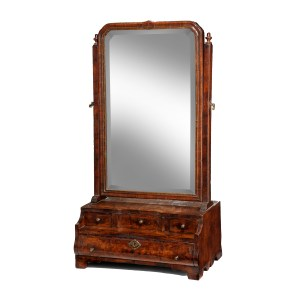ANTIQUE QUEEN ANNE WALNUT BOX BASE DRESSING MIRROR