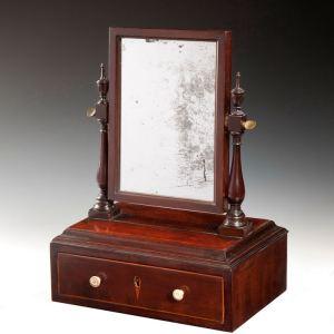 ANTIQUE GEORGE III MAHOGANY BOX BASE DRESSING MIRROR