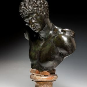 ANTIQUE BRONZE BUST OF HERMES