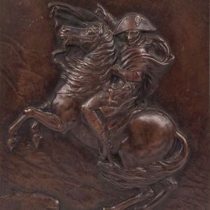 ANTIQUE BRONZE PLAQUE OF NAPOLEON CROSSING THE ALPS
