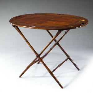 ANTIQUE MAHOGANY OVAL BUTLERS TRAY ON FOLDING STAND