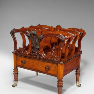 ANTIQUE EARLY VICTORIAN ROSEWOOD CANTERBURY