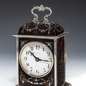 ANTIQUE ASPREY SILVER & TORTOISESHELL MANTEL CLOCK