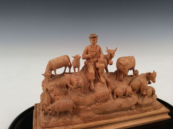 carved-wood-group-farmer-cattle-sheep-goats-Swiss-glass-dome-19th-century-antique-5721_1_5721