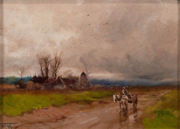 HENRY CHARLES FOX-OIL PAINTING-COUNTRY LANE