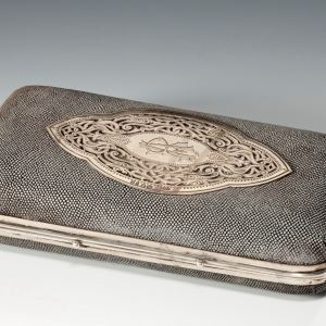 ANTIQUE ASPREYS SHAGREEN & SILVER CIGAR CASE