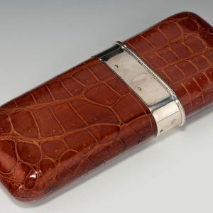 ANTIQUE CROCODILE THREE SECTION CIGAR CASE