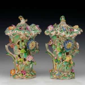 ANTIQUE PAIR OF COALPORT PORCELAIN FLOWER ENCRUSTED VASES