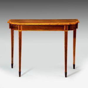 ANTIQUE ROSEWOOD AND SATINWOOD BREAKFRONT CONSOLE TABLE