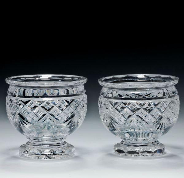 ANTIQUE PAIR OF CUT GLASS SALT CELLARS