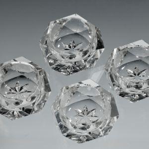 FOUR ANTIQUE CUT GLASS SALT CELLARS