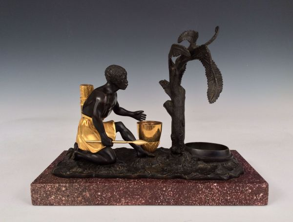 ANTIQUE GILT AND PATINATED BRONZE ENCRIER OF A BLACKAMOOR