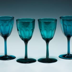 ANTIQUE SET OF FOUR GREEN WINE GLASSES