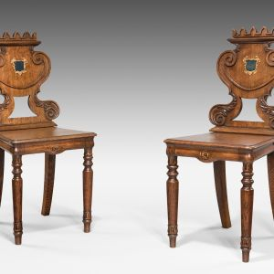 ANTIQUE PAIR OF WILLIAM IV CARVED OAK HALL CHAIRS