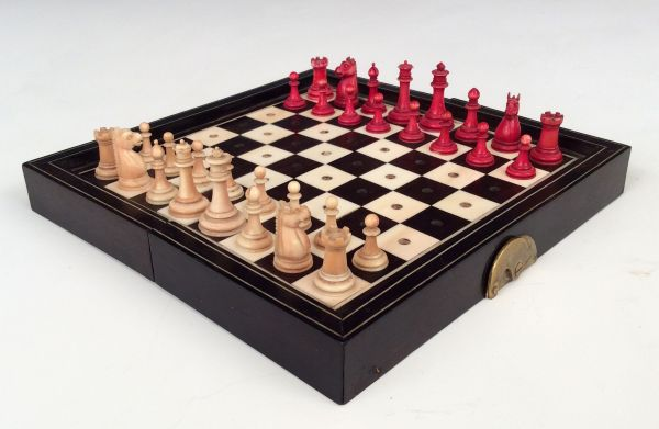 ANTIQUE IVORY TRAVELLING CHESS SET