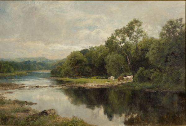 JOHN CLAYTON ADAMS OIL PAINTING RIVER DERWENT