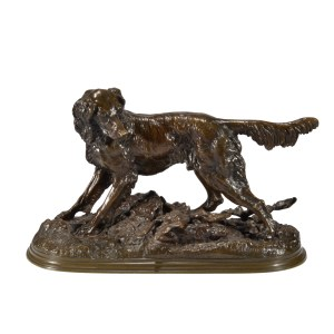 JULES MOIGNIEZ ANTIQUE BRONZE RABBIT SETTER