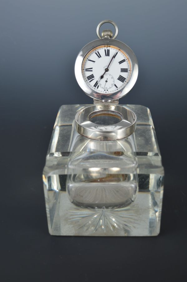 EDWARDIAN SILVER AND CUT GLASS WATCH INKWELL BY MAPPIN AND WEBB LONDON