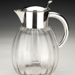 ANTIQUE GLASS AND SILVER PLATE LEMONADE JUG