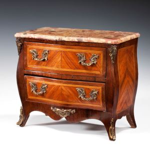 ANTIQUE MINIATURE FRENCH KINGWOOD COMMODE