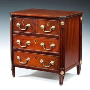 DUTCH MINIATURE MAHOGANY CHEST OF DRAWERS