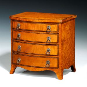 ANTIQUE MINIATURE SATINWOOD CHEST OF DRAWERS