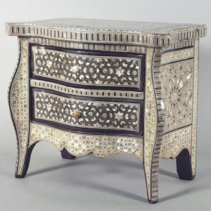 ANTIQUE MINIATURE MOTHER OF PEARL COMMODE