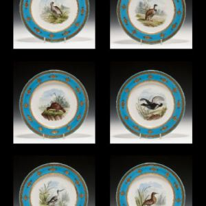 SIX ANTIQUE MINTON PORCELAIN CABINET PLATES GAME BIRDS