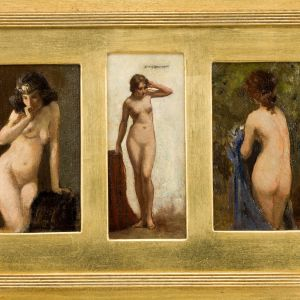 ALLAN DOUGLAS DAVIDSON OIL PAINTING FEMALE NUDES