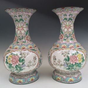 PAIR OF ANTIQUE CHINESE CANTON ENAMEL VASES