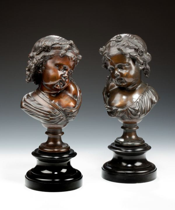 ANTIQUE PAIR OF BRONZE BUSTS YOUNG CHILDREN