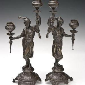 ANTIQUE PAIR OF BRONZE BLACKAMOOR FIGURAL CANDELABRA
