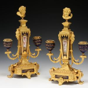 ANTIQUE PAIR OF FRENCH PORCELAIN AND ORMOLU CANDELABRA
