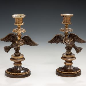 ANTIQUE PAIR OF BRONZE & ORMOLU REGENCY CANDLESTICKS