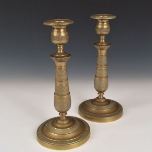 ANTIQUE PAIR OF CANDLESTICKS IN THE FRENCH EMPIRE STYLE