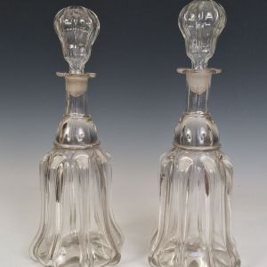 ANTIQUE PAIR OF GLASS DECANTERS